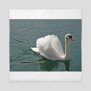 Reflective white swan Queen Duvet