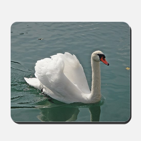 Reflective white swan Mousepad