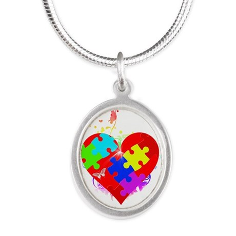 Autism Puzzle on Heart Silver Oval Necklace