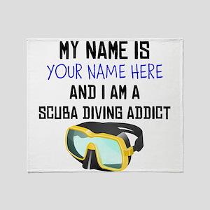Custom Scuba Diving Addict Throw Blanket
