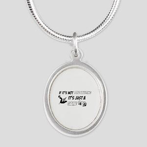 Pole Vault lover designs Silver Oval Necklace
