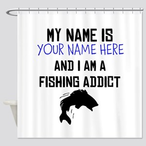 Custom Fishing Addict Shower Curtain