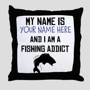 Custom Fishing Addict Throw Pillow