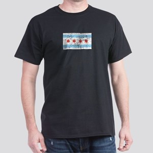Distressed Chicago Flag Dark T-Shirt