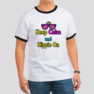 Crown Sunglasses Keep Calm And Hippie On Ringer T