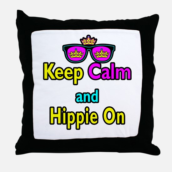 Crown Sunglasses Keep Calm And Hippie On Throw Pil