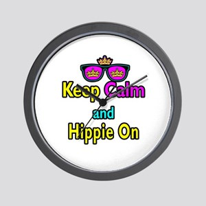 Crown Sunglasses Keep Calm And Hippie On Wall Cloc