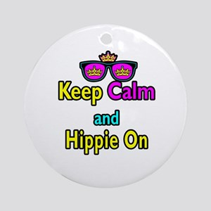 Crown Sunglasses Keep Calm And Hippie On Ornament