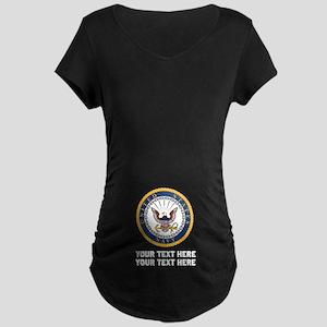 US Navy Symbol Customized Maternity Dark T-Shirt