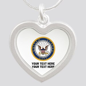 US Navy Symbol Customized Silver Heart Necklace