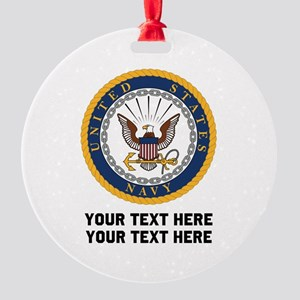 US Navy Symbol Customized Round Ornament
