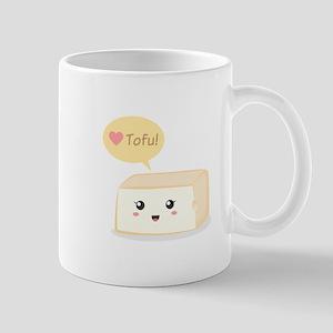 Kawaii tofu asking people to love tofu Mug