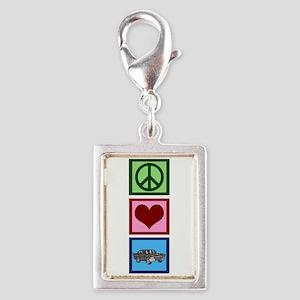 Peace Love Cars Silver Portrait Charm