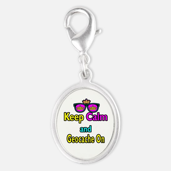 Crown Sunglasses Keep Calm And Geocache On Silver