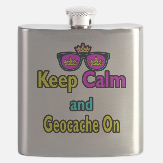 Crown Sunglasses Keep Calm And Geocache On Flask