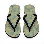 Dark Blue Butterflies on Grunge Flip Flops