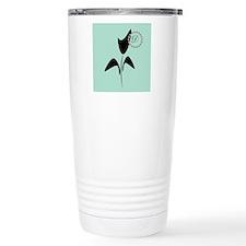 Cute Black Tulip Monogrammed Travel Mug Mugs