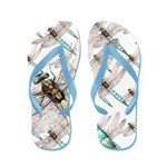 Dragonfly Air Force on White Flip Flops