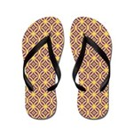 Gold Rings With Purple Red and Blue Flip Flops