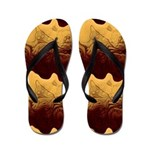 Gold Waves With Red Flip Flops