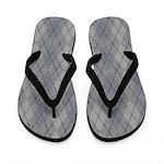 Gray and Blue Argyle Flip Flops