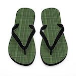 Green Plaid Flip Flops
