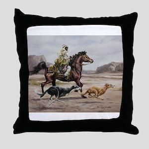 Bedouin Riding with Saluki Hounds Throw Pillow