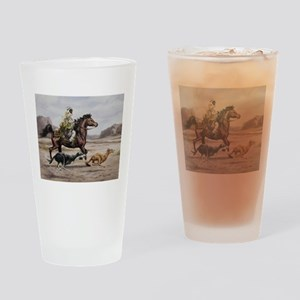 Bedouin Riding with Saluki Hounds Drinking Glass