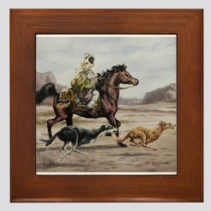 Bedouin Riding with Saluki Hounds Framed Tile