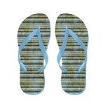 Grungy Blue and Yellow Stripes Flip Flops