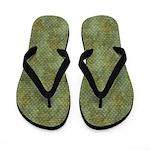 Grungy Dark Green Scallops Flip Flops