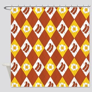 Bacon and Eggs Argyle Pattern Shower Curtain