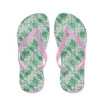 Grungy Green Angular Shapes Flip Flops