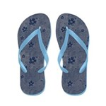 Grungy Hearts and Flowers in Blue Flip Flops