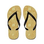 Grungy Hearts and Flowers in Yellow Flip Flops