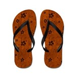 Grungy Hearts and Flowers on Orange Flip Flops