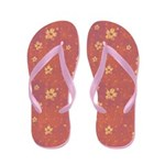 Grungy Hearts and Flowers on Pink Flip Flops