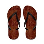 Grungy Red and Gold Floral Pattern Flip Flops