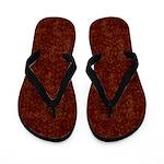 Hollow Gold Squares on Dark Red Flip Flops
