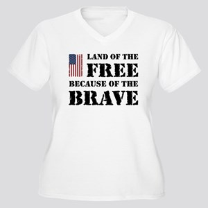 Land of the Free Women's Plus Size V-Neck T-Shirt