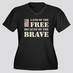 Land of the Free Women's Plus Size V-Neck Dark T-S