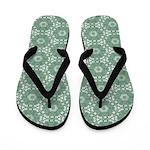Mint Green Floral Pattern Flip Flops