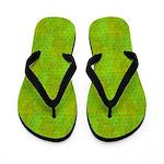 Neon Green and Yellow Scallops Flip Flops