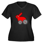 hare-with-wheels.png Women's Plus Size V-Neck Dark