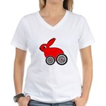 hare-with-wheels.png Women's V-Neck T-Shirt