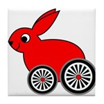 hare-with-wheels Tile Coaster
