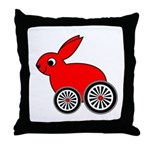 hare-with-wheels Throw Pillow