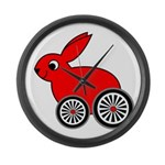 hare-with-wheels Large Wall Clock