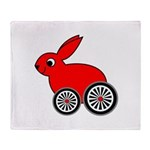 hare-with-wheels Throw Blanket