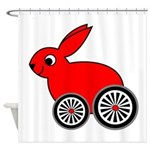 hare-with-wheels.png Shower Curtain